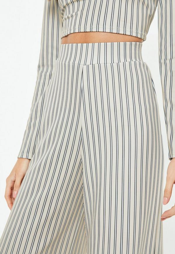 Grey Stripe Culottes by Missguided