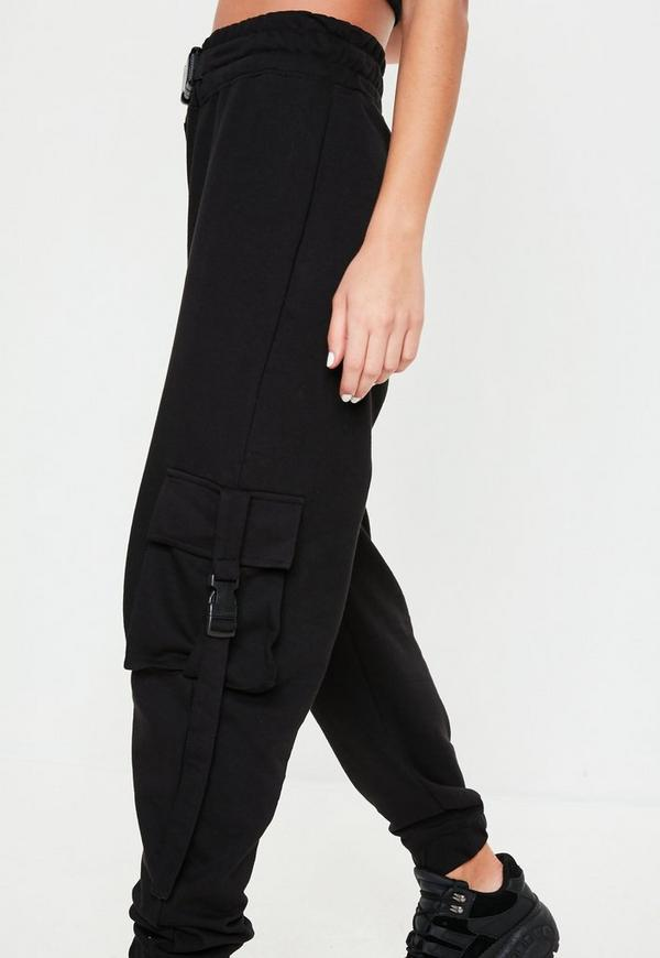 Black Seat Belt Jersey Cargo Trousers Missguided