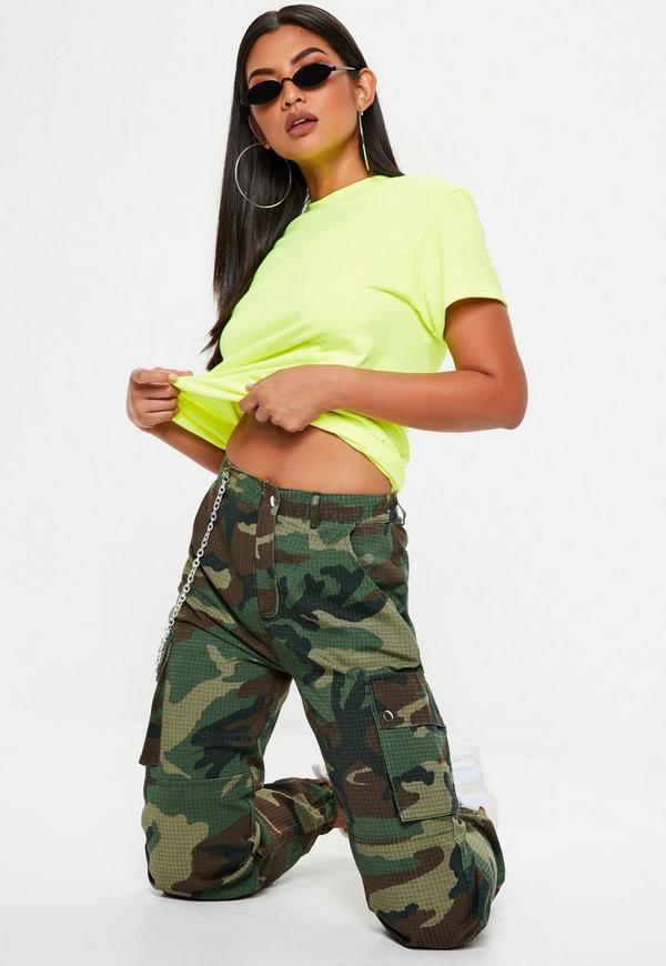 Khaki Premium Chain Camo Trousers | Missguided
