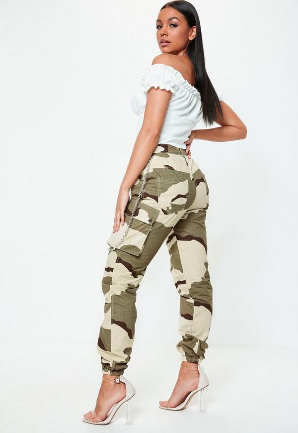 Premium Khaki Chain Camo Cargo Trousers by Missguided