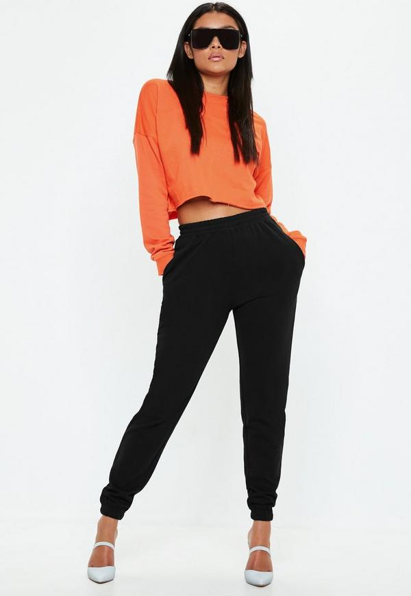 Black Super Slim Clean Joggers by Missguided
