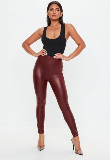 Burgundy Matte Stiletto Nails With Glossy Tips: Burgundy Matte Faux Leather Leggings