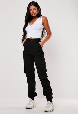 1f54ccc24f Black Plain Cargo Trousers