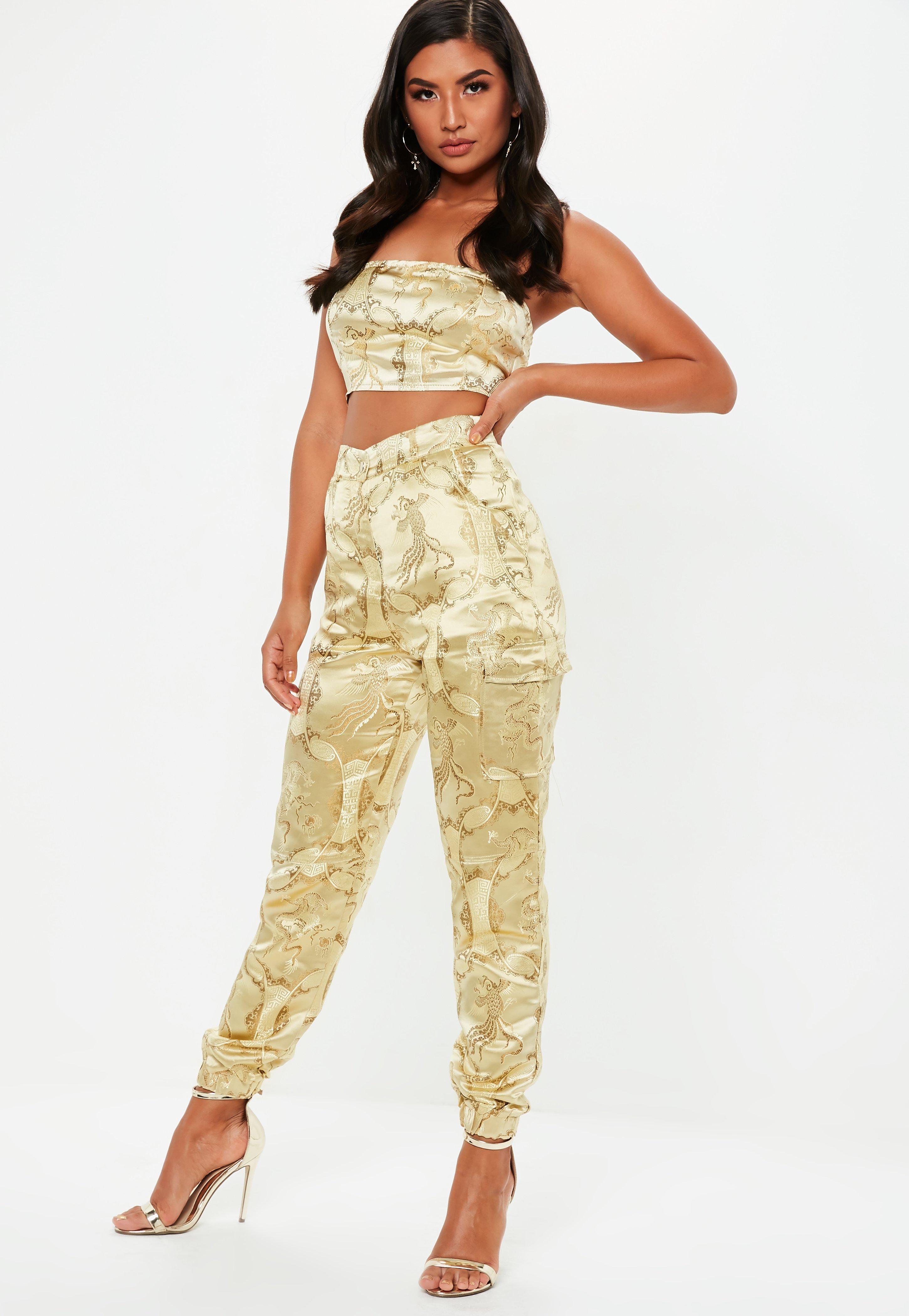 dff37dbe64ea Gold Oriental Jacquard Combat Pants | Missguided