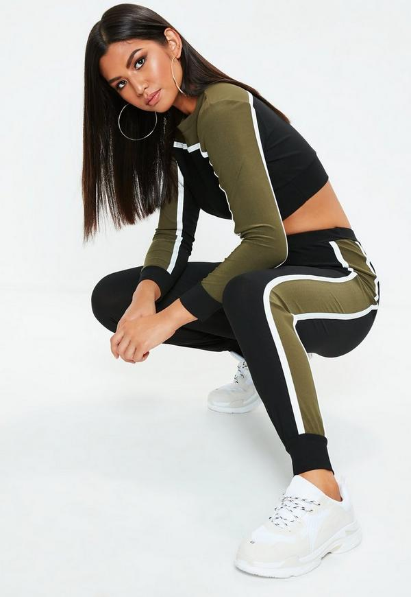 Khaki Sports Stripe Loungwear Co Ord Set by Missguided
