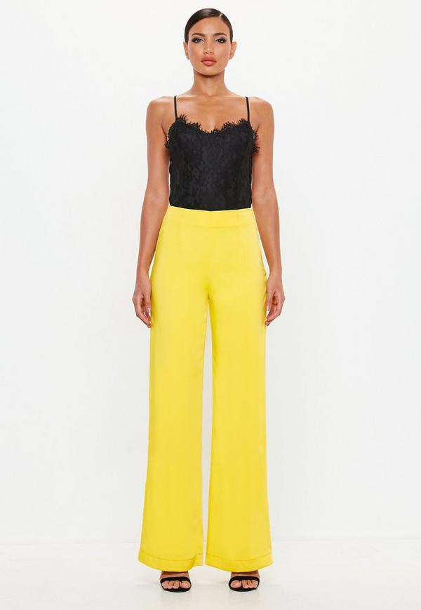 Peace + Love Yellow Satin Back Crepe Trousers by Missguided