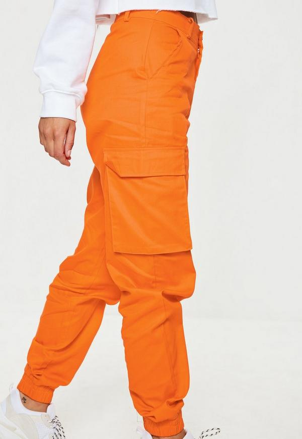 Orange Plain Cargo Trousers Missguided Australia