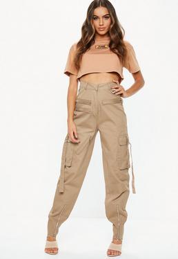 3de093c6844eb ... Pantalon utility camel à zips Fanny Lyckman X Missguided