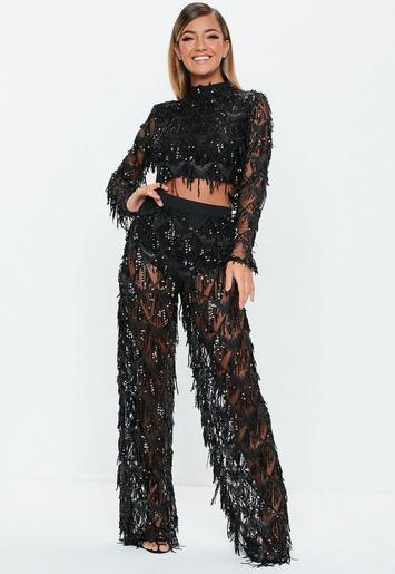Black Fringe Sequin Mesh Pants Missguided