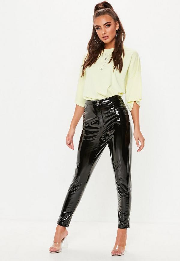 Black Vinyl Trousers Missguided