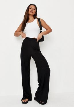 7058e7183b46e Black Ribbed Wide Leg Trousers