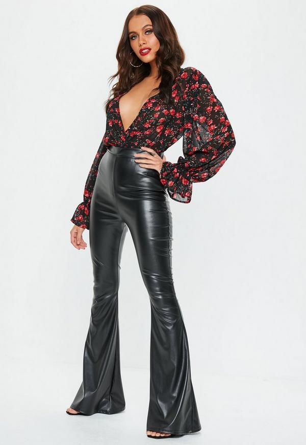 Black Faux Leather Flared Trousers  609f3f7a0