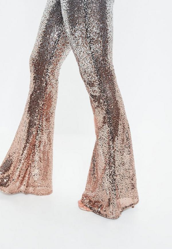 fa9d68b4d59 ... Silver Sheer Ombre Sequin Flare Trousers. Previous Next