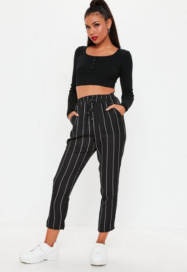 Black Stripe Tie Waist Lightweight Trousers by Missguided