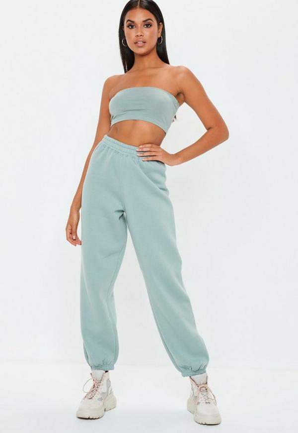 Green 80s Brush Back Joggers by Missguided
