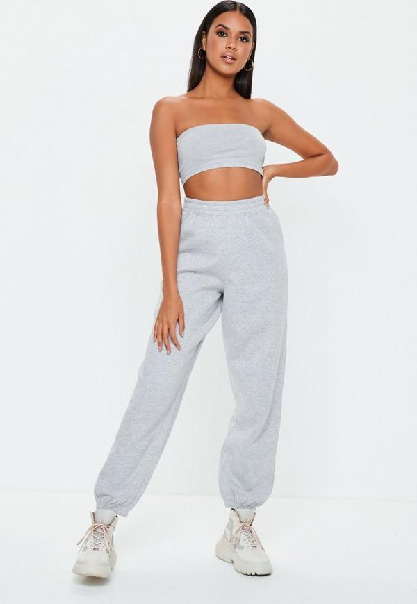 Grey 80s Brushback Joggers by Missguided