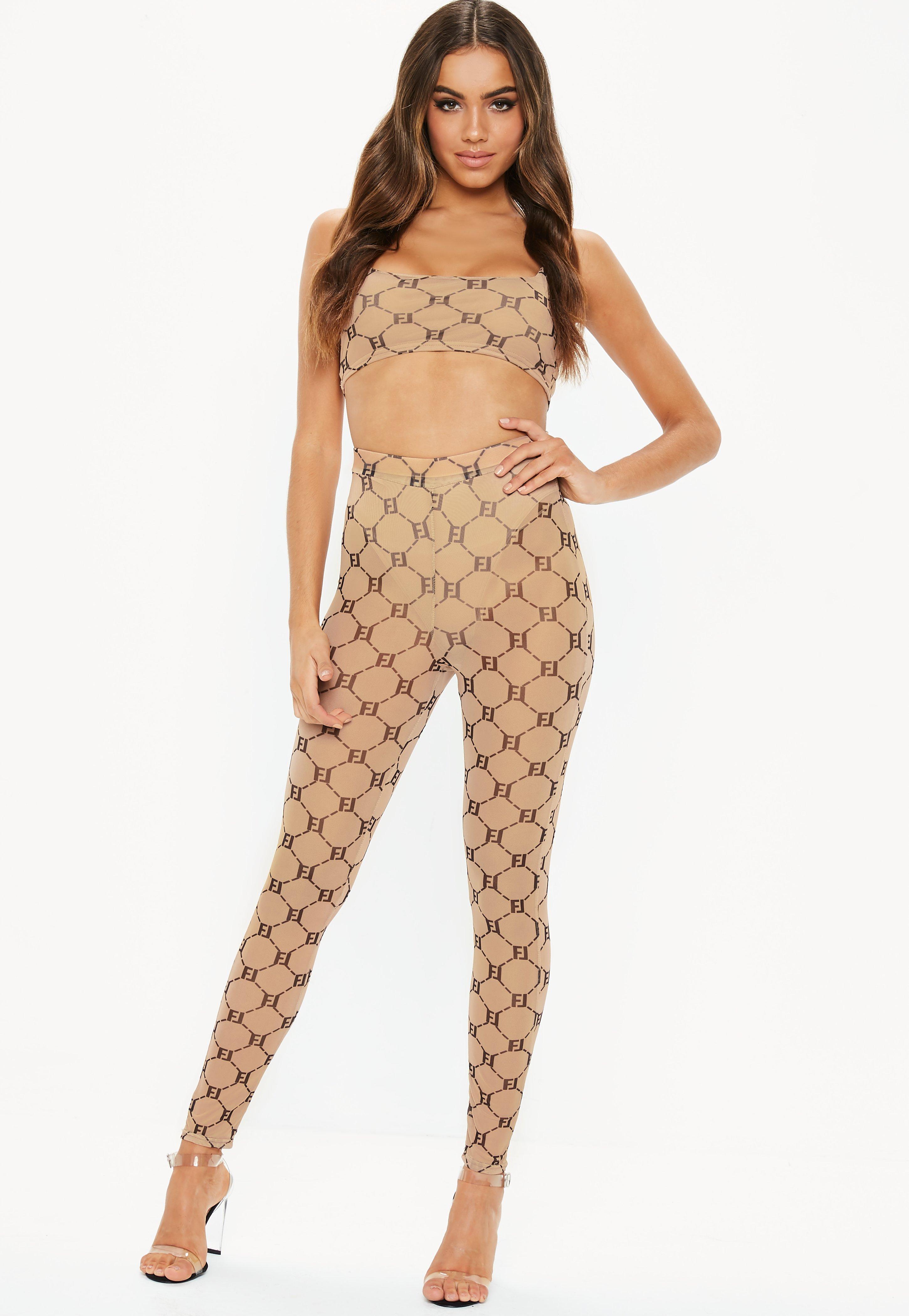 e0fd925c633 Fanny Lyckman X Missguided Tan Mesh Printed Leggings | Missguided