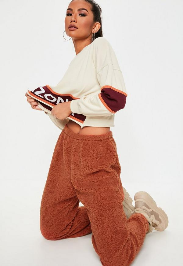 Rust Teddy Joggers by Missguided