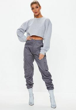a311042076b Grey Cargo Trousers