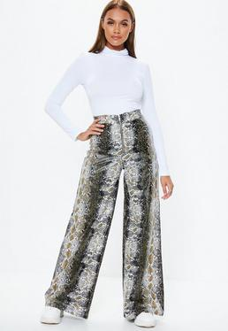 ab5b89ff5fdc7 Grey Leather Trousers