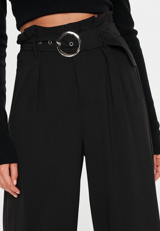 Missguided - Circle Buckle Wide Leg Trousers - 3