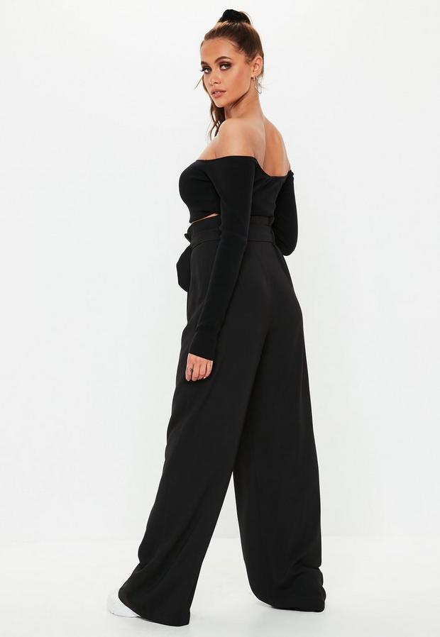 Missguided - Circle Buckle Wide Leg Trousers - 4
