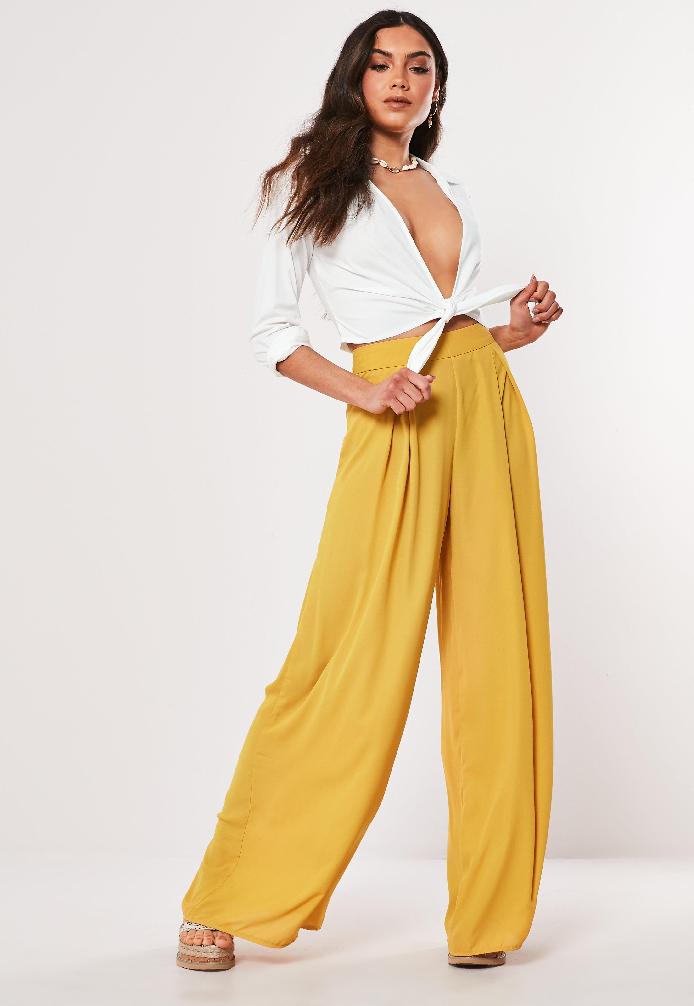 2cca4b139a34ef Mustard Pleat Front Wide Leg Trousers   Missguided