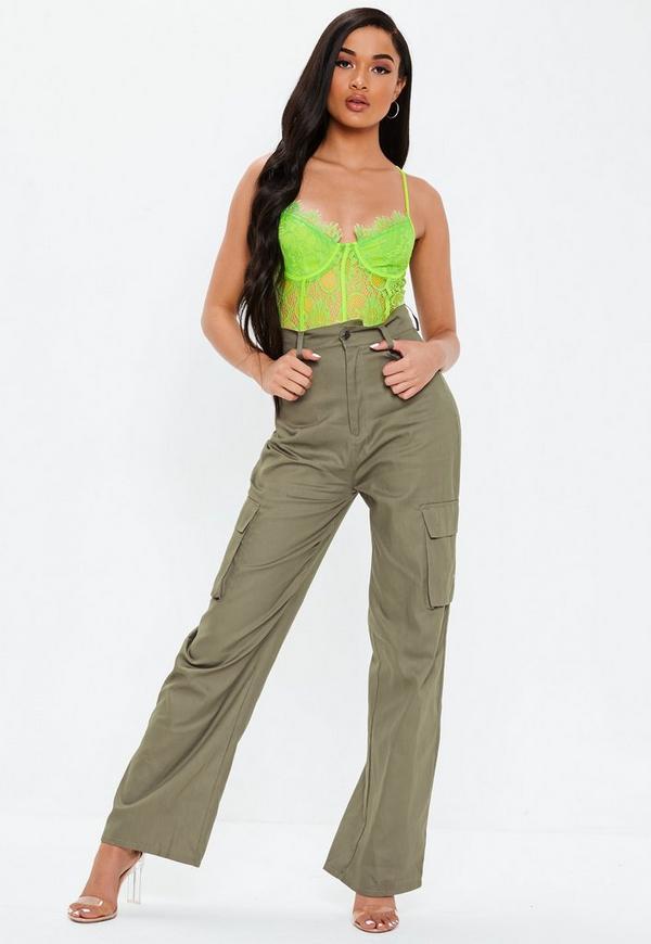 e11309bb098a2 Khaki Plain Straight Leg Cargo Trousers