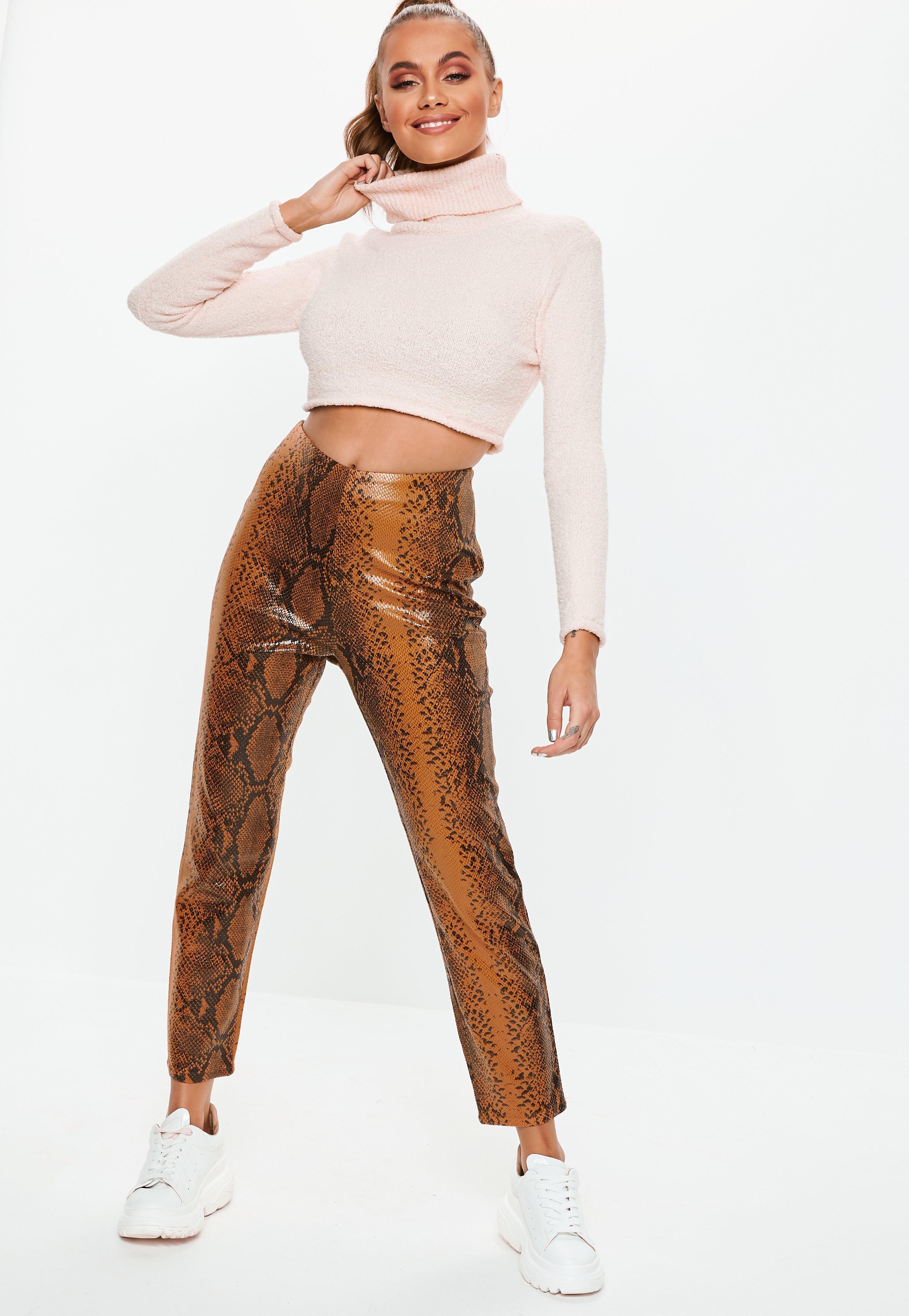 57b43e5e2 Brown Faux Leather Snake Print Cigarette Trousers