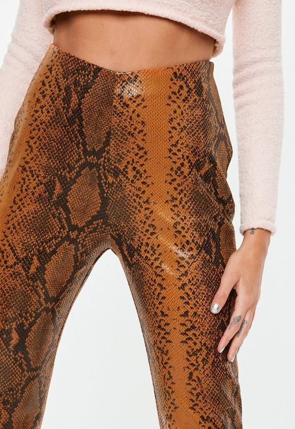 Brown Faux Leather Snake Print Cigarette Pants Missguided