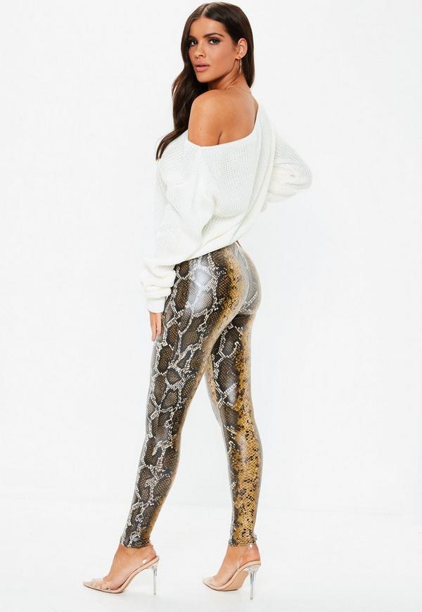 095f9541c3c5d Brown Snake Print Wet Look Leggings by Missguided