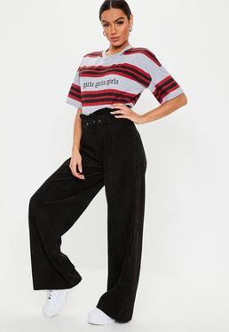 0d5c7f69c0e4 Pantalon large noir rainuré · Pantalon large noir en velours côtelé