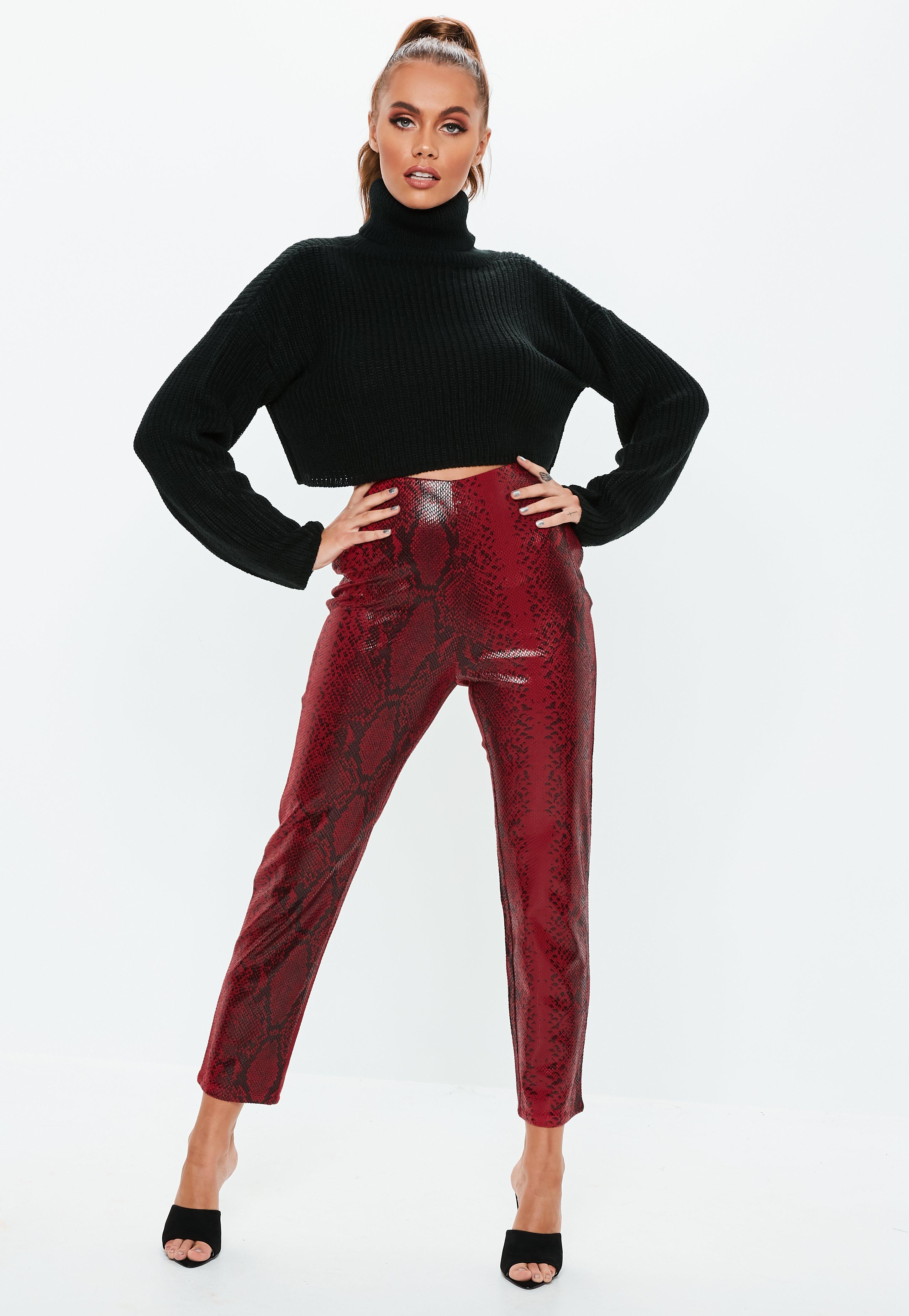 7767f354c Red Faux Leather Snake Print Cigarette Pants