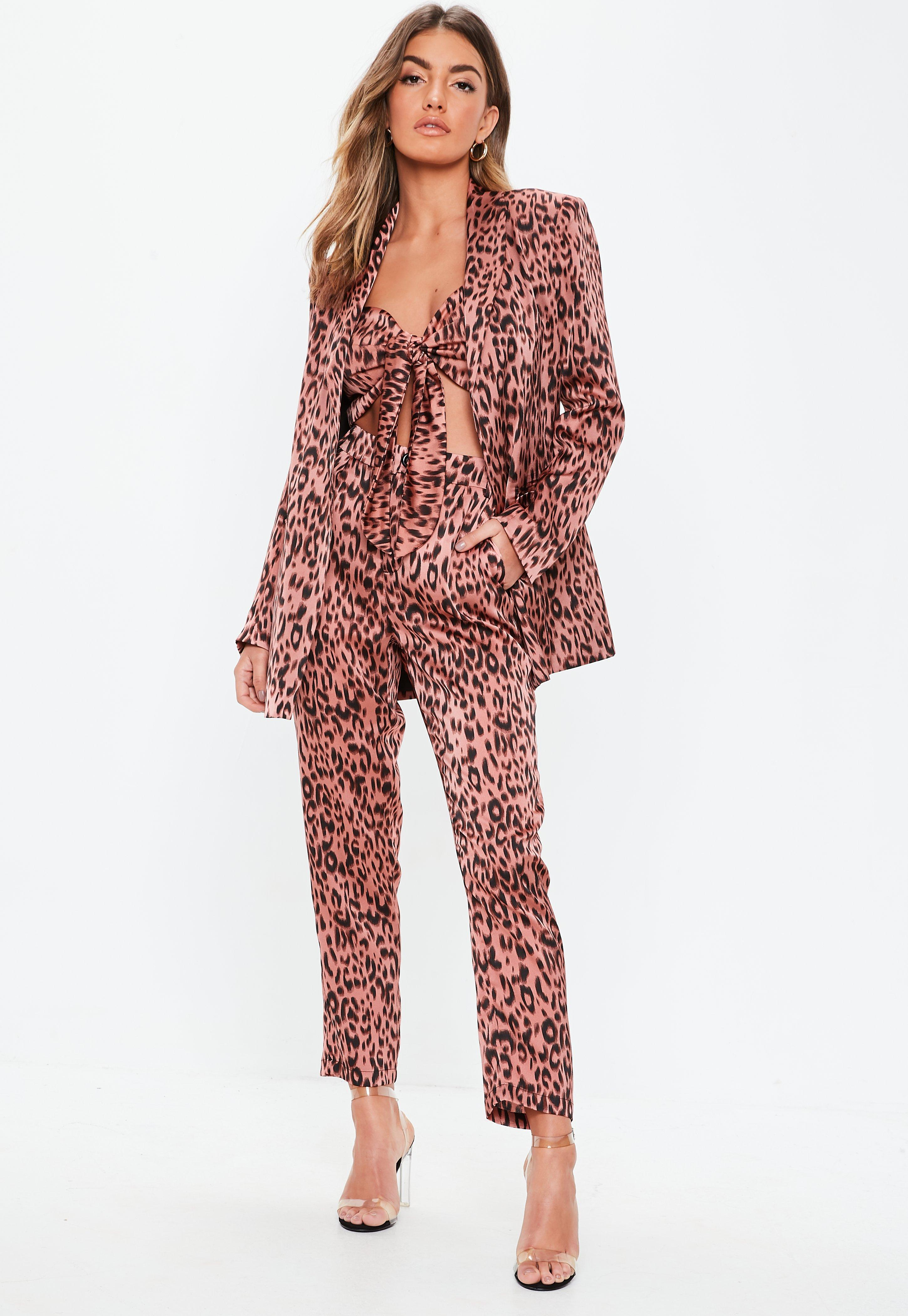 964ad513632c Pink Leopard Print Cigarette Trouser Co-ord   Missguided