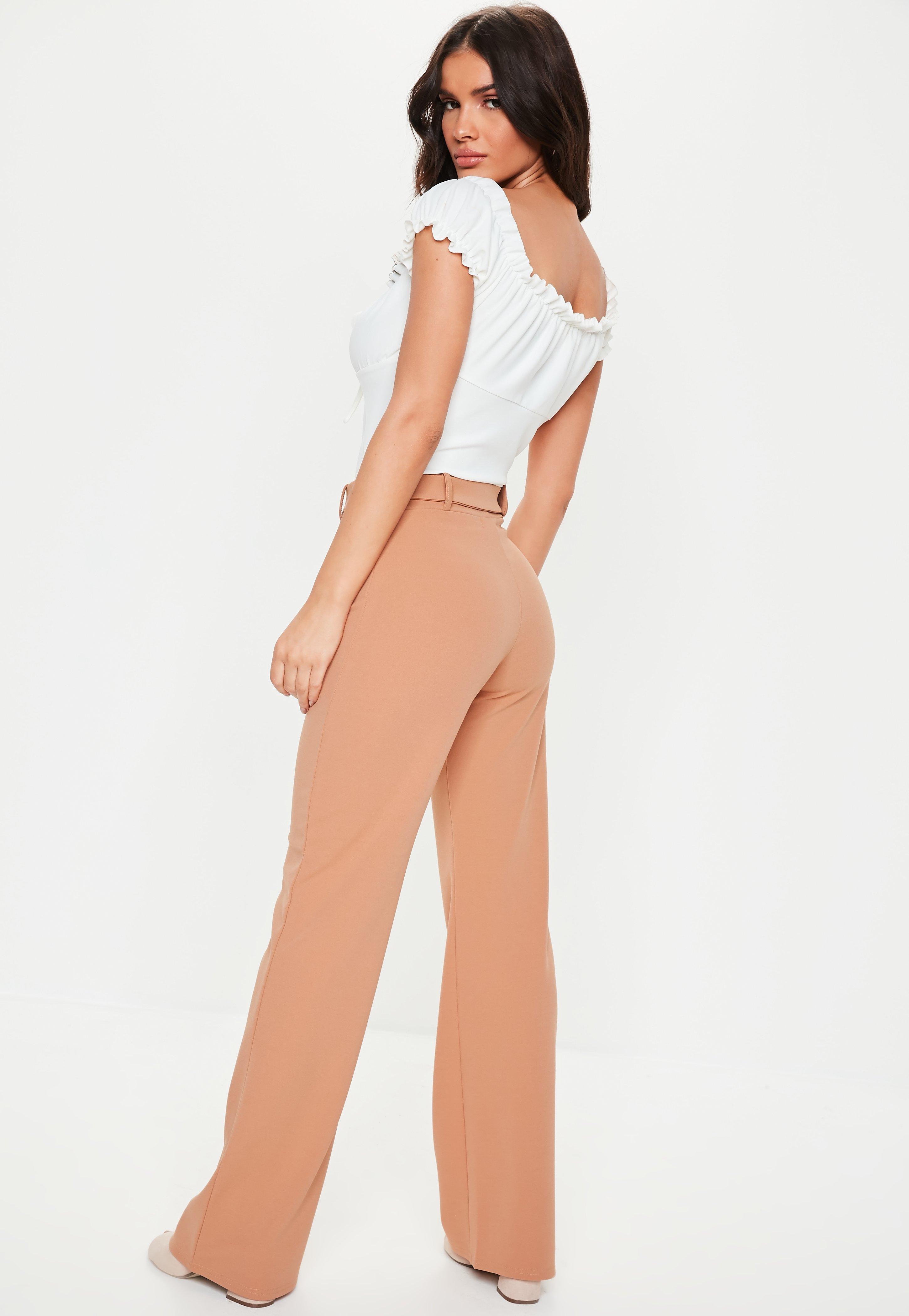 Trousers Wide Crepe Camel Missguided Leg Belt Tortoise xCXA4wq7A