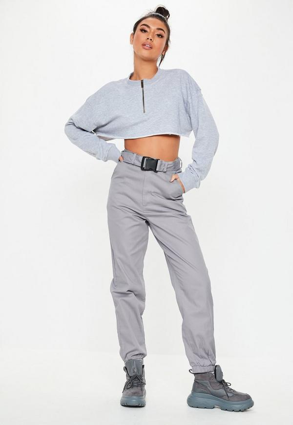 Grey Twill Seatbelt Jogger Pants by Missguided