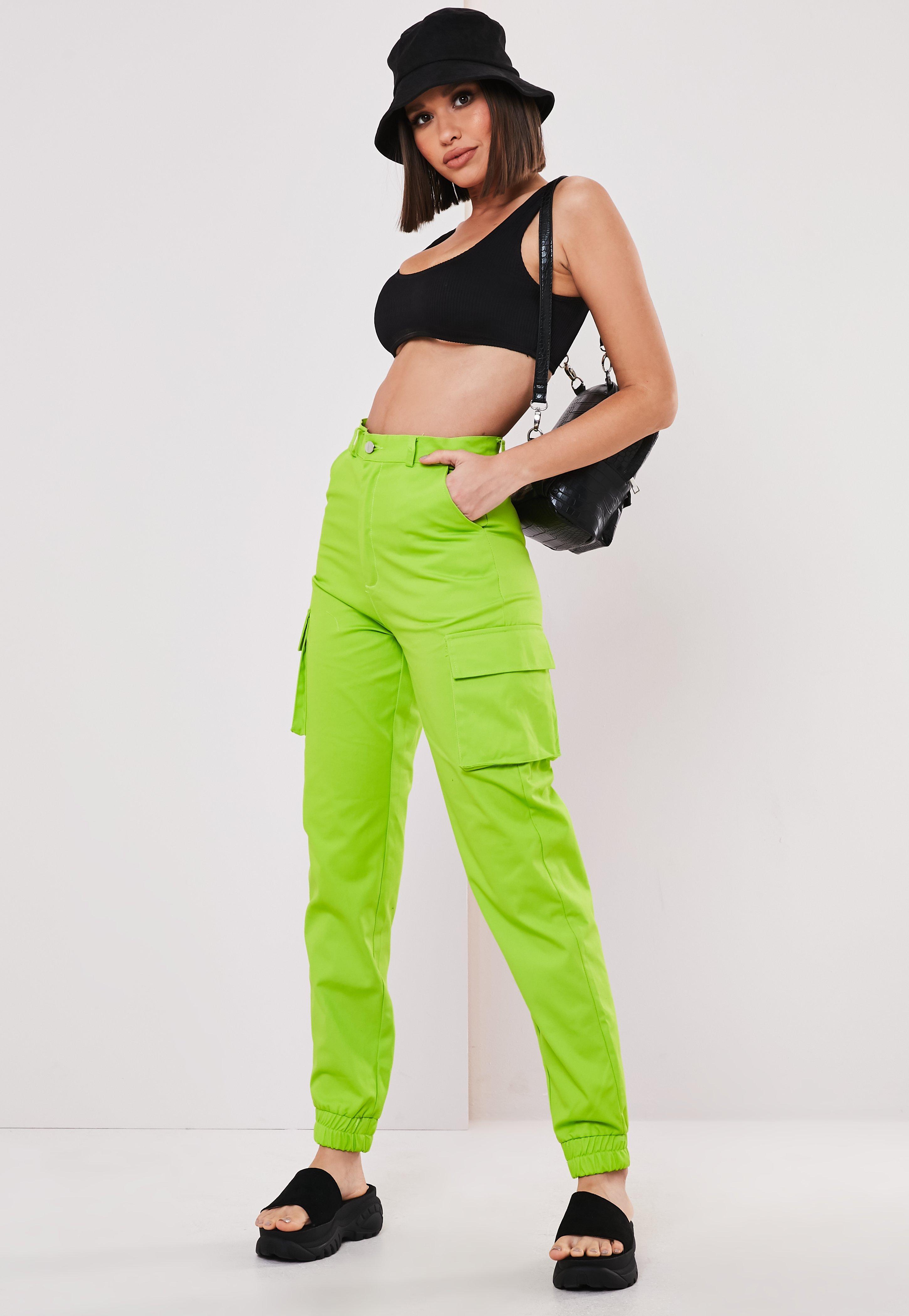 0c5db9c1f535b Lime Green Plain Cargo Pants