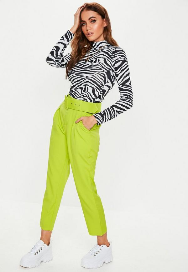 Lime Green Woven Belted Cigarette Pants by Missguided