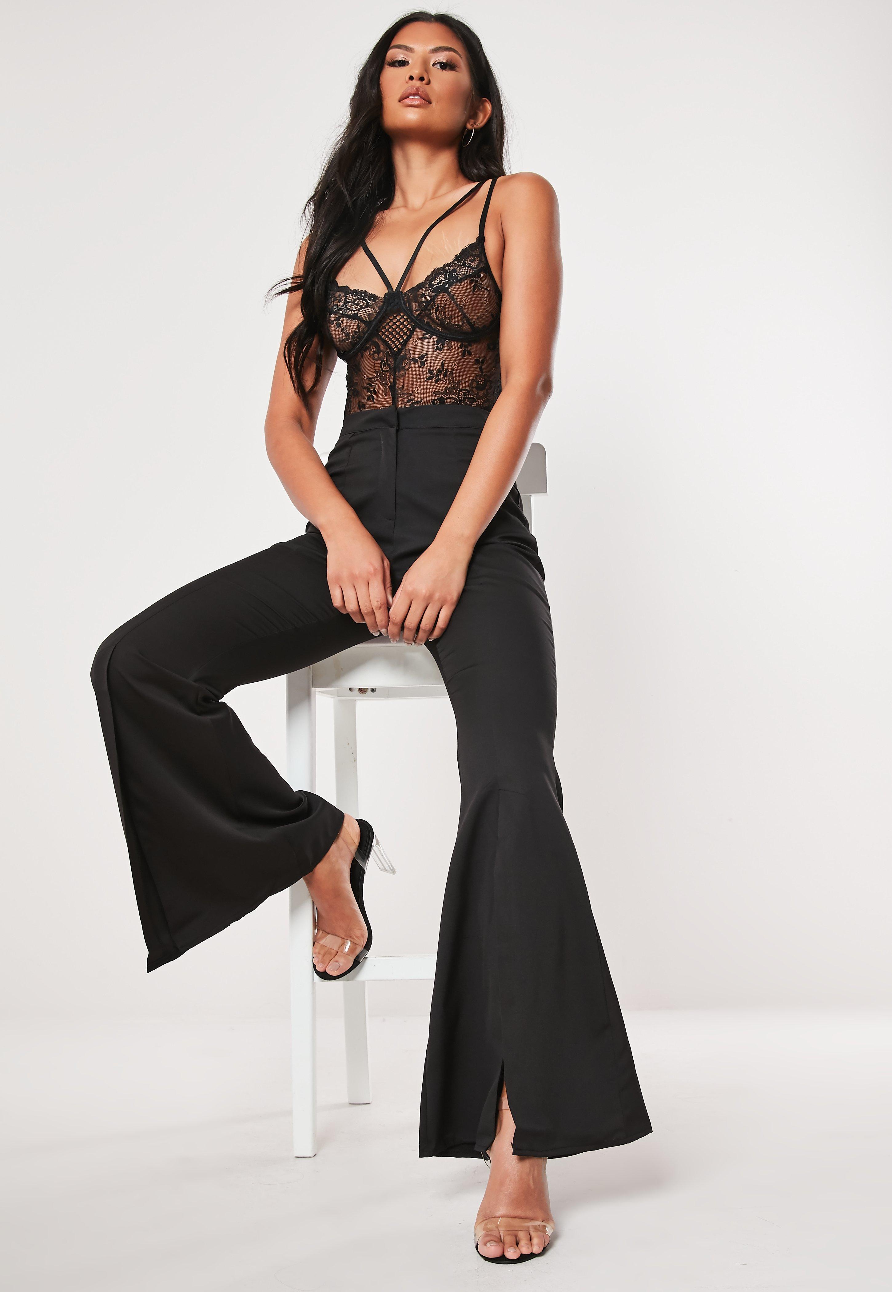 051ffc01257 Black Split Front Flare Trousers