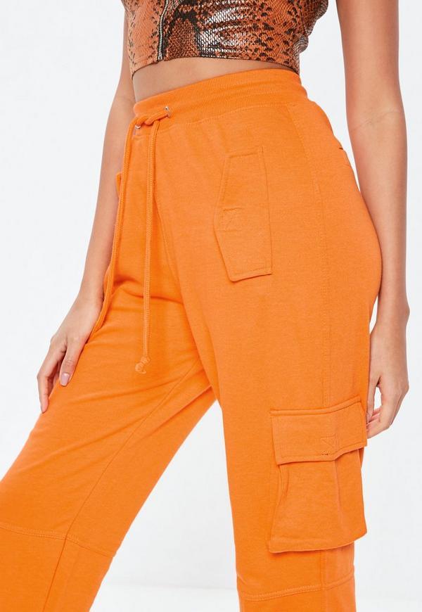 Orange Utility Pocket Cargo Pants Missguided