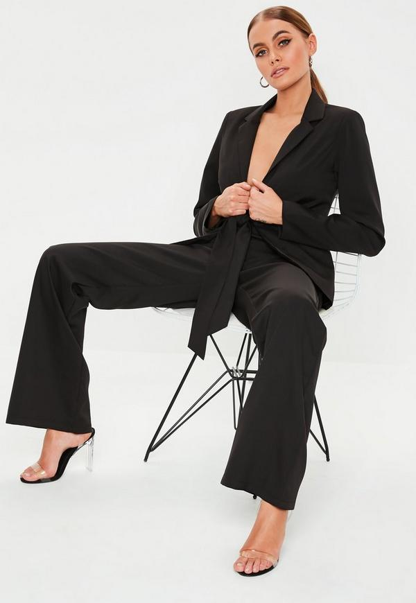 Black Woven Crepe Wide Leg Co Ord Trousers by Missguided