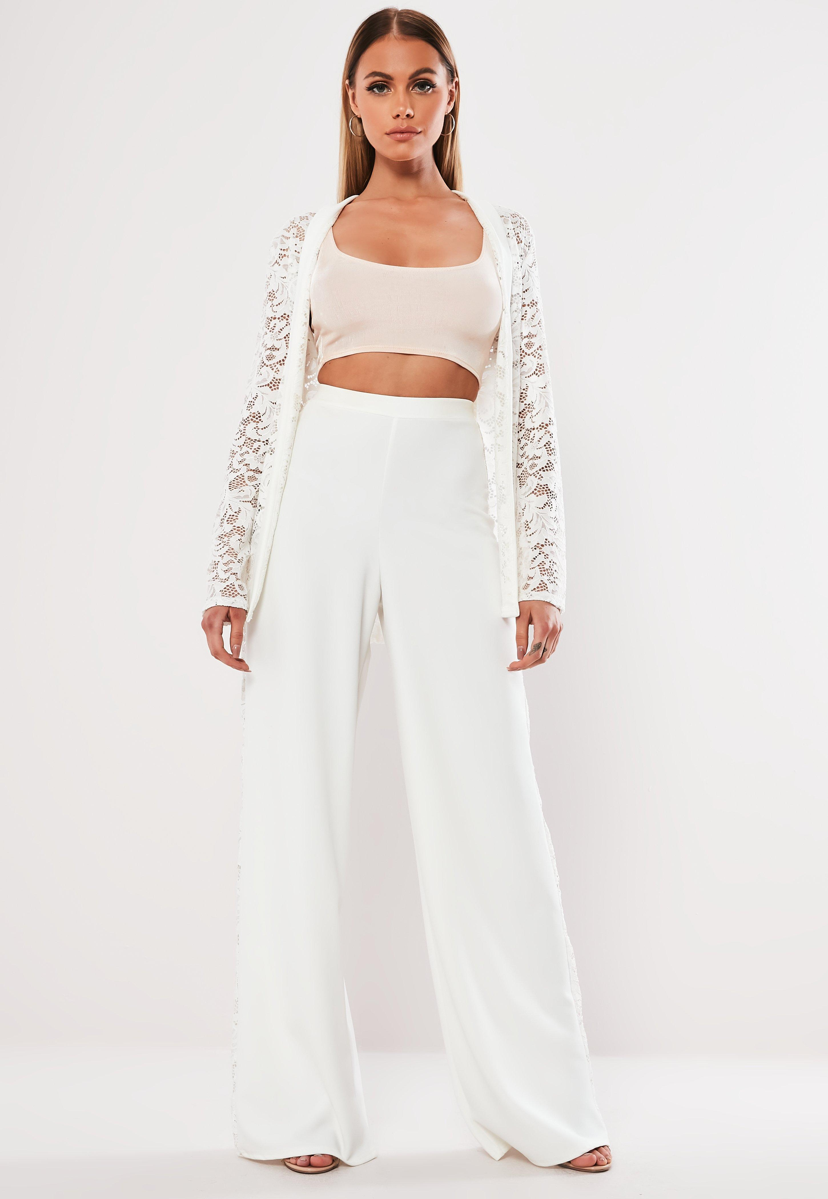 f4a92c14d84 White Co Ord Lace Side Wide Leg Trousers