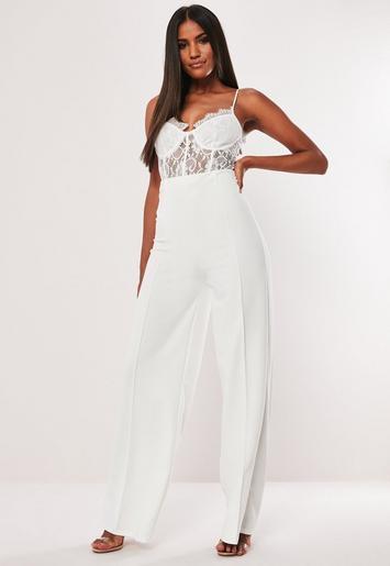 pantalon large taille haute blanc missguided. Black Bedroom Furniture Sets. Home Design Ideas