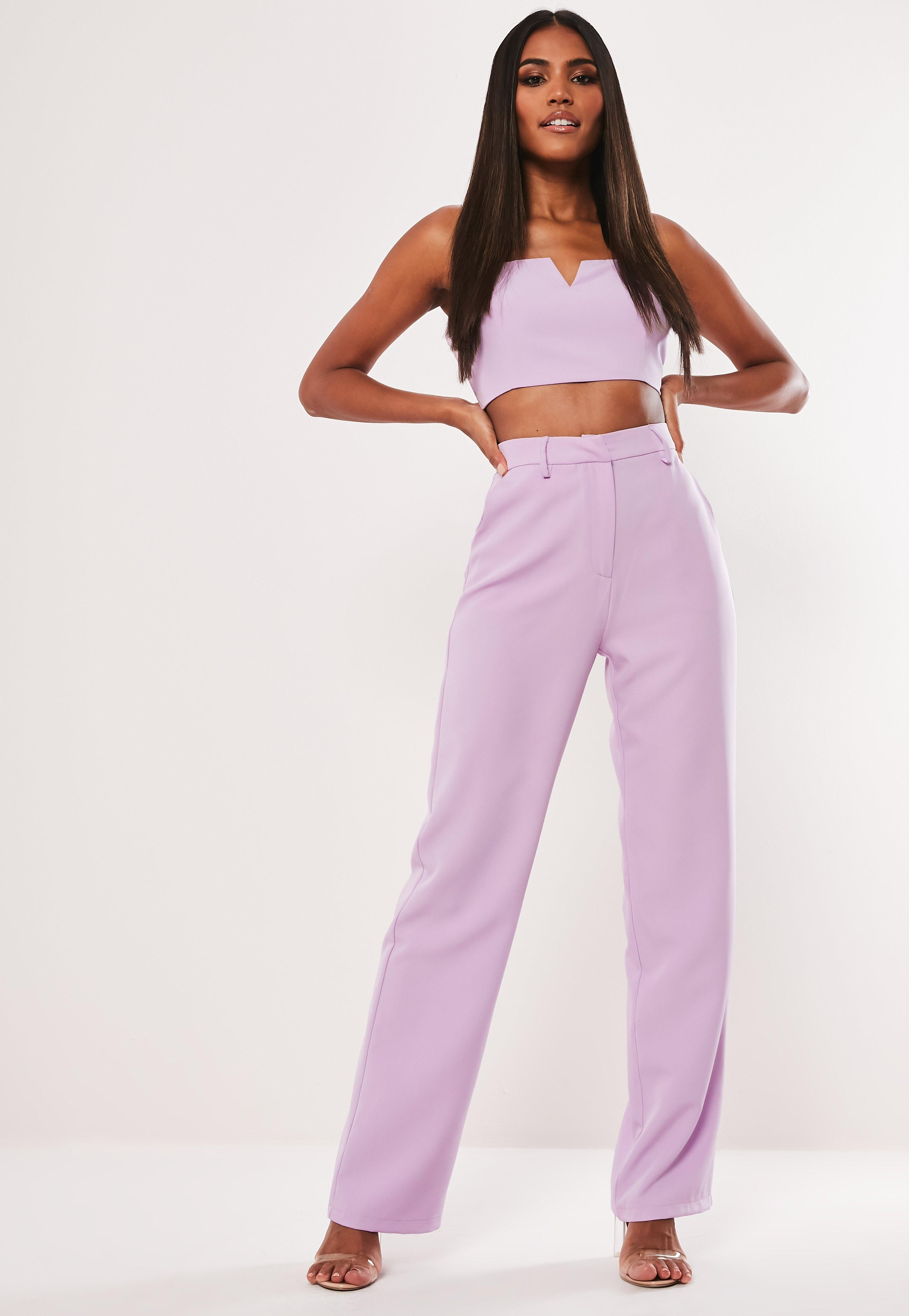 37e05943a6d7 Lilac Co Ord Straight Leg Trousers | Missguided