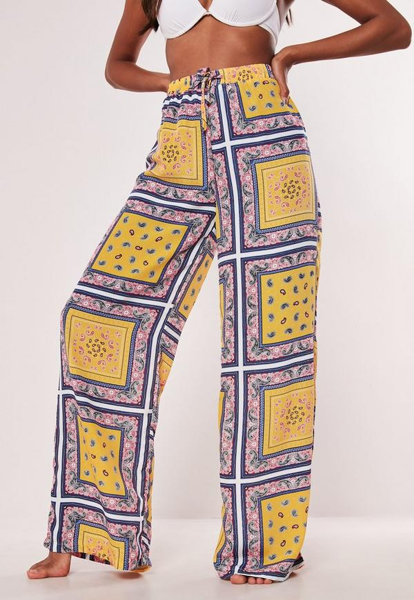 dfa751cbc74f Yellow Printed Wide Leg Trousers. Previous Next