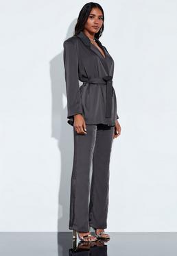 Peace + Love Серые атласные узкие брюки с высокой талией