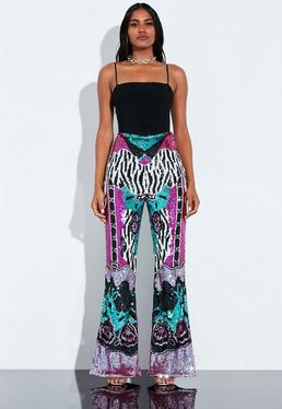 6b84ec1150ad ... Peace + Love Zebra Print Embellished Flared Trousers