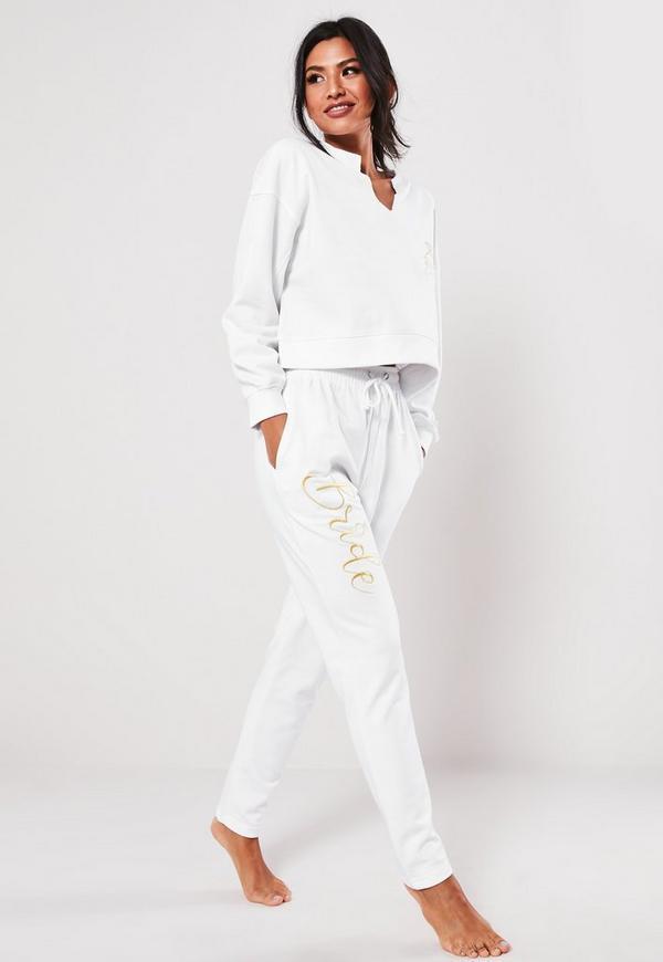 eecc8adf60181 White Bride Embroidered Slogan Joggers