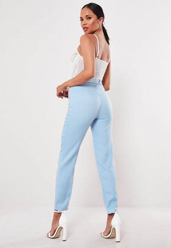 blue belted cigarette pants missguided