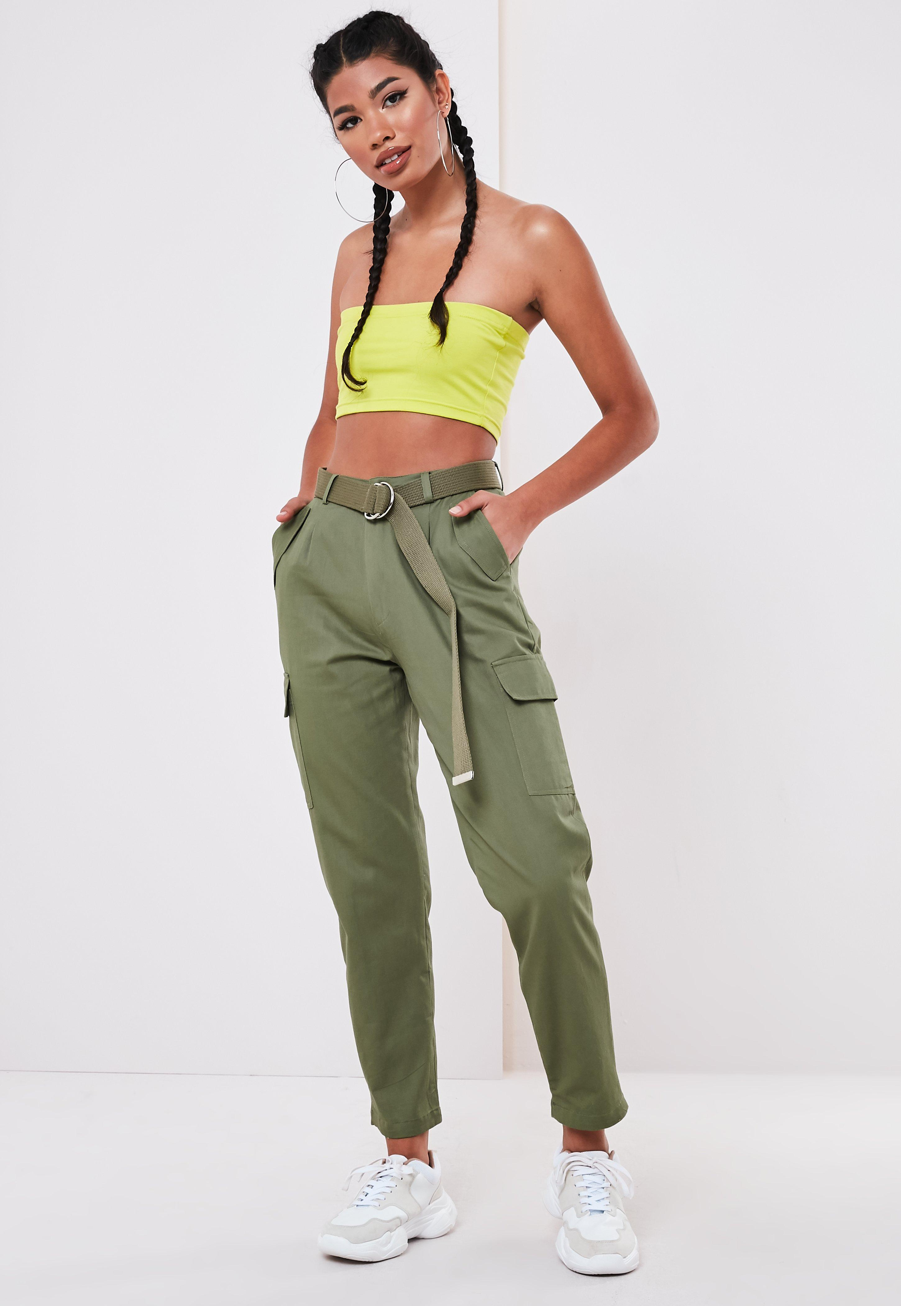 886263a7f5 Khaki D Ring Belted Cargo Pants